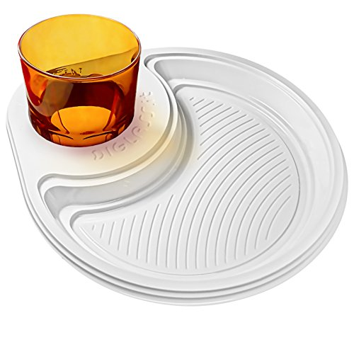 DIGLASS il piatto portabicchiere, mangia e bevi in libertà, 30 piatti in plastica monouso, ideali per buffet, aperitivi, feste, compleanni (Bicchieri da 350 ml e oltre, Bianco)