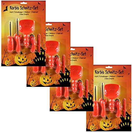Bada Bing 20tlg. Kürbis Schnitz Set Werkzeug Halloween Schneideset Pumpkin (4er Set) 87