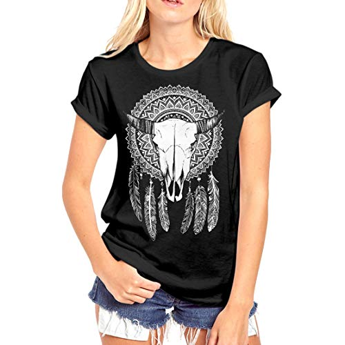 Fashionkilla - Camiseta Oversized Modelo Atrapasueños con Mandala para Mujer (XL) (Negro)