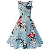 VEMOW Elegante Damen Vintage Sleeveless V-Ausschnitt Printed Bow Lässige Tägliche Tanzabend Party Prom Swing Kleid Bowknot Abendkleider Faltenrock (Grün, EU-36/CN-S)