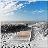 Wallario Sticker/Aufkleber für Kühlschrank/Geschirrspüler / Küchenschränke, Selbstklebende Folie - 60 x 60 cm, Motiv: Auf Dem Holzweg Zum Strand in schwarz-weiß Optik