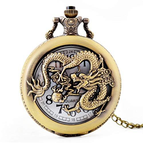 MEIEI Quarz-Taschenuhr, chinesische Drache-Hohle Taschenuhr-Kleidungs-Quarz-Taschenuhr der chinesischen Art-Männer mit dem Kasten-Verpacken (Dragonfly Mann Kostüm)