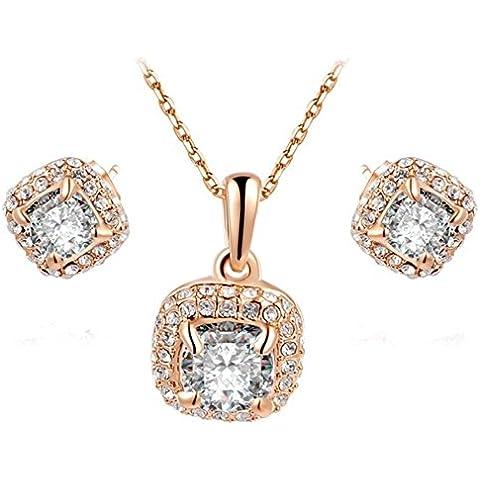 ROXI Bling Jewelry–Set da donna elegante placcato oro 18ct CZ Orecchini quadrati e collana con ciondolo