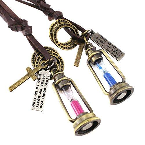 TININNA 2 Pcs Collar Retro Collar de Cadena de Cuero Ajustable Pendiente del Reloj de Arena de Moda