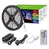 LE 12V DC 300 LEDs RGB Strip Lights Kit, 5m SMD 5050 Non-Waterproof LED ribbon,44 Key IR Remote Controller and Power Adaptor Included, Multi-coloured LED Tape TV Backlight Indoor Decoration for Home Kitchen Bar Party Holiday Festival