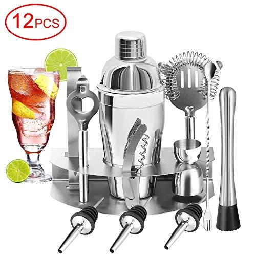 U-HOME Cocktailset, Edelstahl Cocktail Mixer Geschenk Set mit 550ml Cocktail Shaker Ideal für Zuhause oder die Bar