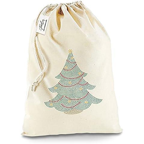 Twisted Envy Festive Albero Di Natale Strass calza natale sacco di Babbo Natale, Cotone, X-Large - Approx 50cm x 70cm