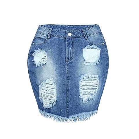 Women Short Pencil Skirt▲YUAN Denim Skirt Jeans High Waist Ripped Vintage Skinny Skirt for Girls (XL,