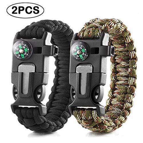 Quner 2pcs Multifunktional Survival Armband,Paracord Armband mit Feuerstein,Kompass, Trillerpfeife, Mini-Messerperfekt für Camping Wandern
