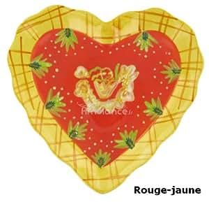 OLD Assiette coeur rouge-jaune