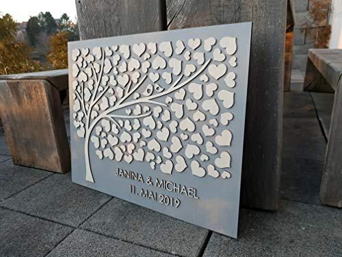 Manschin Laserdesign Personalisiertes 3D Gästebuch aus echtem Holz - Baum - Gästebuch Alternative - (Hintergrundfarbe Grau, 75 x 60 cm)