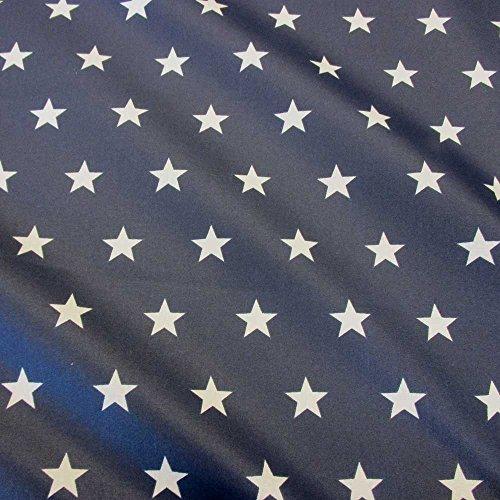 Stoff Meterware wasserdicht Sterne marine weiß Tischdecke Baumwolle beschichtet -