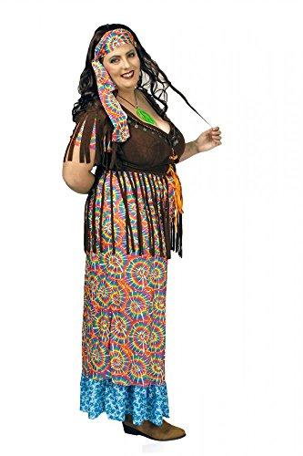 Hippie Kostüm Rainbow Gr. L- XXL Damen Kleid bunt Flower Power 70er Jahre ()
