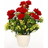 Artificial flowers mini roses in pot for decoration of Christmas and Party(12 mini roses)