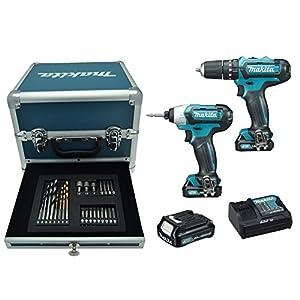Makita CLX202SAX2 Taladro percutor + atornillador de impacto + 24 accesorios + 3 bateria 10,8V 2Ah Li