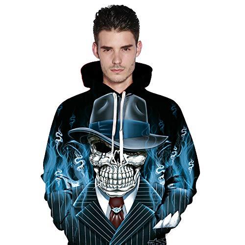 Halloween Sweatshirt Männer Frauen Damen 3D Print Langarm Paare Hoodies Tops Bluse Shirts Pullover Jacke Schreag mit Kapuze (S/M)