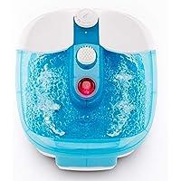 Masajeador para pies Promed FB-100, baño de pies con masaje de Burbujas y por vibración, Campo de luz Roja, Función de Mantenimiento del calor, Incl. 3 Apliques de pedicura, Spa para los pies