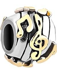 Korliya Abalorio para pulsera, diseño de notas musicales