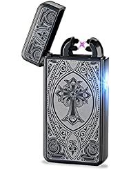 Aokvic Arc encendedor batería USB Electrónico mechero de Gas encendedor de cigarros de mechero de doble haz de arco sin llama resistente al viento