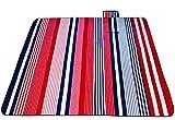 Brinny Picknickdecke Outdoor 200 x 200cm stranddecke Fleece Wasserdicht Isoliert Campingdecken picknickmatte Gepolstert Badedecke Gartendecke mit Tragegriff - Rot & Blau Streifen