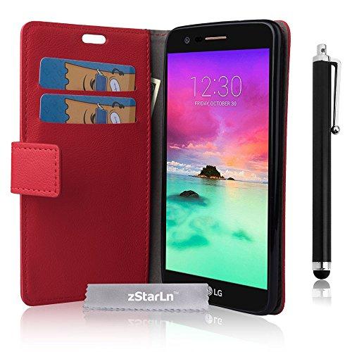 LG K8 2017 Hülle, zStarLn rot Hülle für LG K8 2017 Hülle PU Leder Tasche Handytasche Zubehör Schutzhülle Etui + Stylus pen und 3 Films Schutzfolie