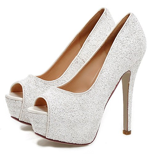 YE Damen Peeptoes High Heels Plateau Stiletto 13cm Absatz Pailletten Elegante Glitzer Fashion Party Pumps Schuhe Weiß