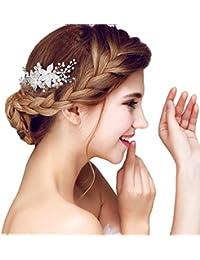 YAZILIND elegante tocado de pelo nupcial peine flores cubic zirconia accesorios de pelo de la boda de fiesta para las…