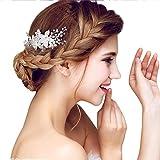 YAZILIND elegante tocado de pelo nupcial peine flores cubic zirconia accesorios de pelo de la boda...