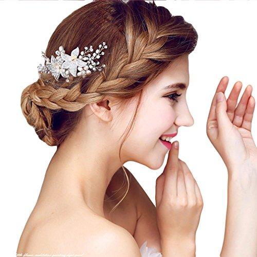 YAZILIND elegante tocado de pelo nupcial peine flores cubic zirconia accesorios de pelo de la boda de fiesta para las mujeres y las ninas