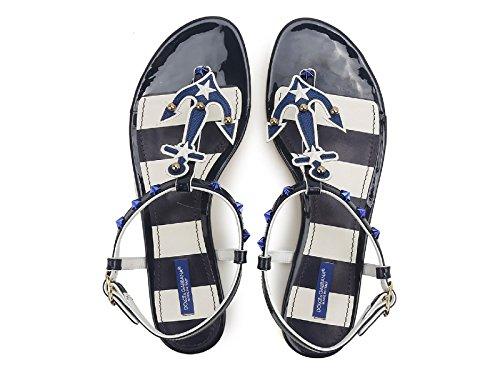 Sandali infradito bassi Dolce&Gabbana in vernice Blu - Codice modello: CQ0136 AB571 87585 Blu medio