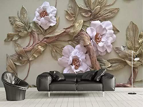 Fototapete 3D Effekt Tapete Dreidimensionales Relief Blume Baum Dekoration Bild Vliestapete 3D Wallpaper Moderne Wanddeko Wandbilder -