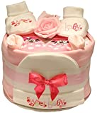 hellrosa Windel Torte bestickt süß Baby Design