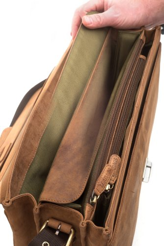 LEABAGS Orlando cartable rétro-vintage en véritable cuir de buffle - Marron Marron