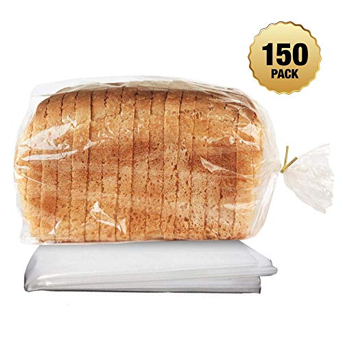 Clear Plastic Bread Loaf Bags for Home Baking Buns, Loafs, and Baguettes Keeping Them Fresh with Gold Twist Ties (150 Pack) (45cm x 20cm x 10cm)