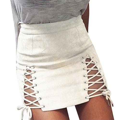 QIYUN.Z Frauen Mädchen Mode Bandage Wildleder Rock Street Röcke Lace-up Kurzes Kleid (M, VD5027-Weiß) (Lace-up-rock)