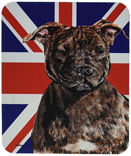 Caroline's Treasures SC9882MP Mauspad Staffordshire Bullterrier Staffie und Englische Union Jack Britische Flagge -