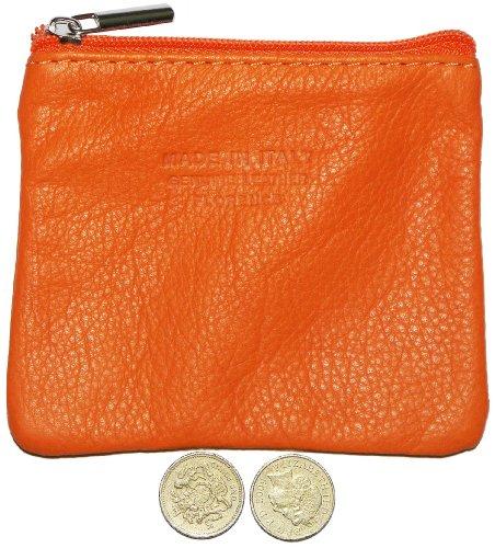 Italiano in morbida pelle con zip portamonete, portamonete o titolare di carta di credito del debito. Piccolo arancio
