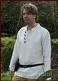 Dura camisa medieval de Algodón con Botón de madera tejido a mano natural, Edad media, LARP, Vikingo - M