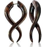 Chic-Net Fake Piercing Sono Holz Bogen gewunden 45 mm Plug Ohrstecker braun gemasert