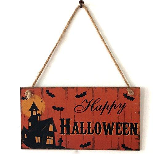 Holz Haunted Die (Haunted House Fledermäuse Wand Türschild von lintimes Holz Schild Türschild Wandschild zum Aufhängen Halloween Hotel Home Dekoration)