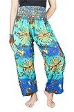 Lofbaz Mujer Rayón Impresión Smocked Cintura Boho Harem Pantalones Tie dye Azul & Mint 3XL