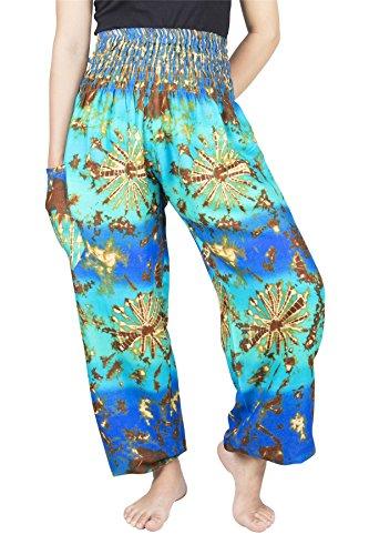 ose mit gesmoktem Bund Tie Dye Blau & Mint L ()
