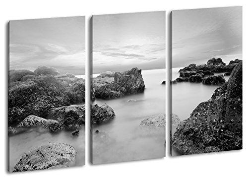 Magischer Felsenstrand in Vietnam Format: 3-teilig 120x80 Effekt: Schwarz/Weiß als Leinwandbild, Motiv fertig gerahmt auf Echtholzrahmen, Hochwertiger Digitaldruck mit Rahmen, Kein Poster oder Plakat