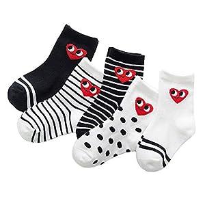 RUOHAN Kinder Socken 5 Paar Kindersocken Baumwollsocken Für Jungen Und Mädchen Roter Herzausdruck Wellenstreifen Baumwollsocken