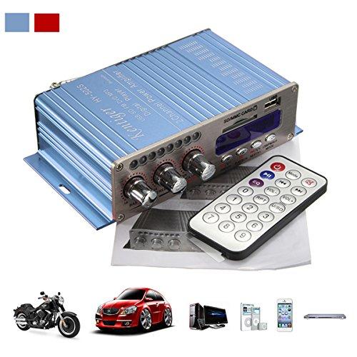 Amplificatore auto stereo, ELEGIANT 12V Mini Hi-Fi Amplificatore Auto Bluetooth Stereo MP3 Amplificatore Audio Stereo Amplificatore Amp Amplificatore Auto Bass Booster Radio MP3 MP3 FM Amplificatore per Auto Motor CD DVD Blu
