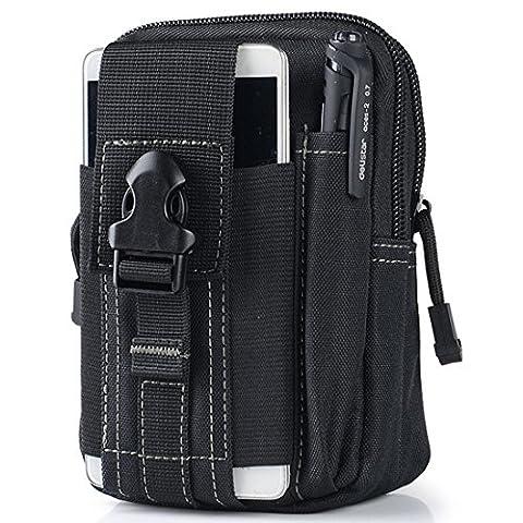 Erasky® Erasky Taktische Hüfttaschen Gürteltasche MOLLE EDC für Outdoorsport Multifunktionen Praktische Ausrüstung (Schwarz)
