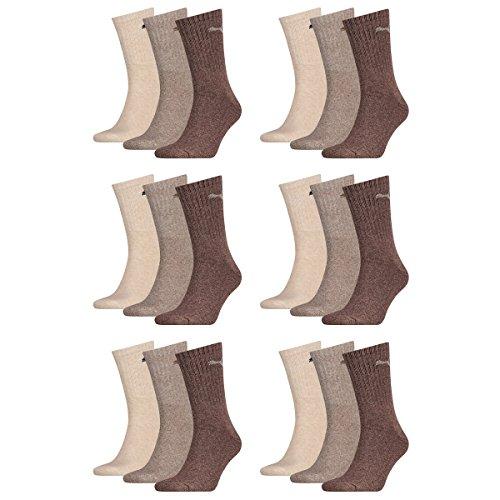 Puma 18 Paar Sportsocken Tennis Socken Gr. 35-49 Unisex für sie und ihn, Farbe:717 - chocolate/walnut/safar, Socken & Strümpfe:39-42