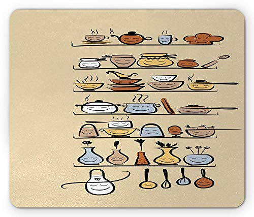 Vintage Mouse Pad, Kitchenware and Utensils Appliances Ornaments Spice Rack Cute Funny Design Print, Standard Size Rectangle Non-Slip Rubber Mousepad, Brown Cream Utensil Ornamente