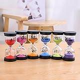 6 Farbe Sanduhr Timer Sanduhren-Set Zufällige Farbe, 1 Set Mit 1 Minute/3 Minuten/5 Minuten/10 Minuten/15 Minuten/30 Minuten, Komplizierter Prozess, Gute Verarbeitung, Ideal Für Haushalt, Sport