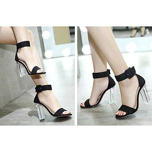 Eastlion Freiliegende Zehe Sommer Damen Sandalen Kristall Schuh Ferse Hochhackige Sandalen Stil 1 Schwarz